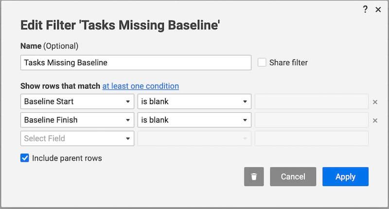 smartsheet filter task missing baseline