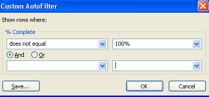 Figure 1 - Percent Complete Late Task Filter Microsoft Project