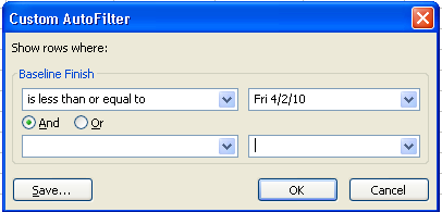 Figure 2 -Baseline Finish filter  Late Task Filter Microsoft Project