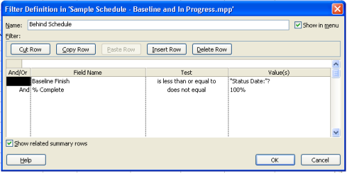 Figure 5 - Late Task Filter Microsoft Project