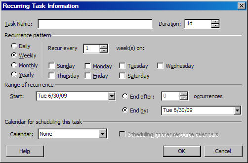 Recurring Task MS Project Task Information