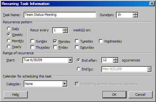 Microsoft Project Tutorial: Create Recurring Tasks