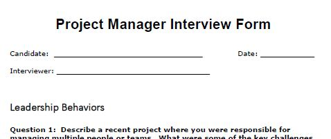 Project Management Interview Guide  Interview Question Template