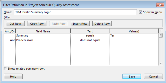 microsoft project tutorial schedule quality custom filter