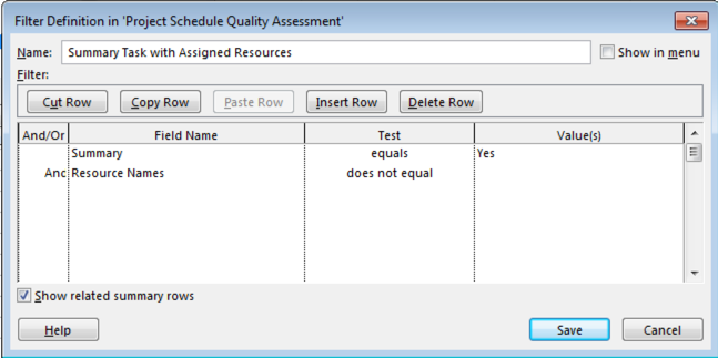 Summary Tasks Assigned With Resources
