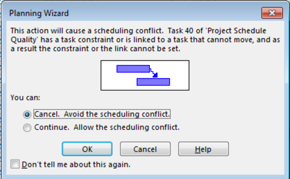 project schedule quality hard constraint error