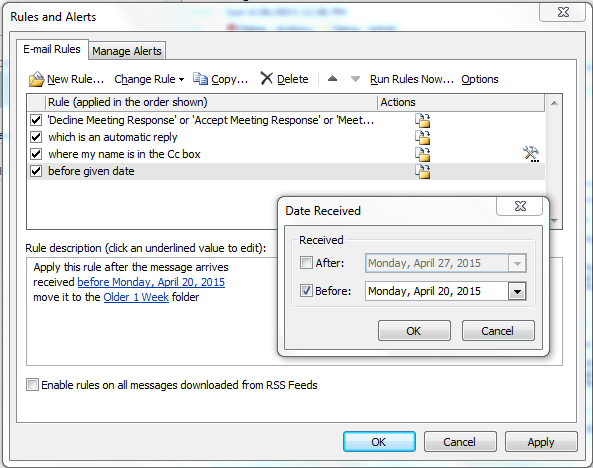 outlook email management date field