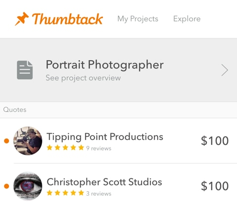 thumbtack photography
