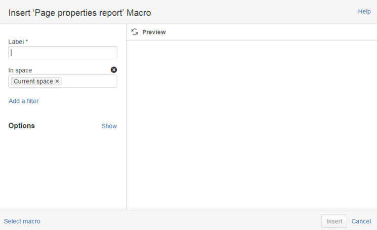 confluence page properties report macro