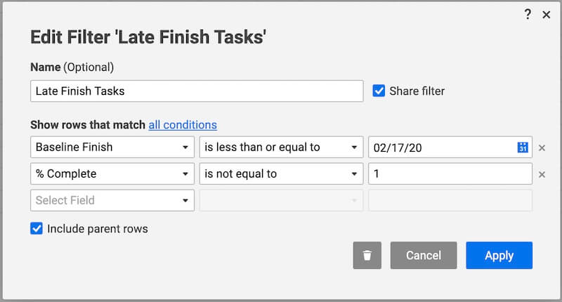 smartsheet filter late finish tasks