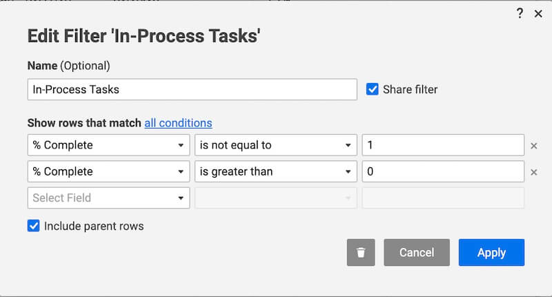 smartsheet filter in-process tasks
