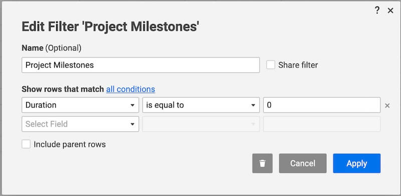 smartsheet filter project milestones
