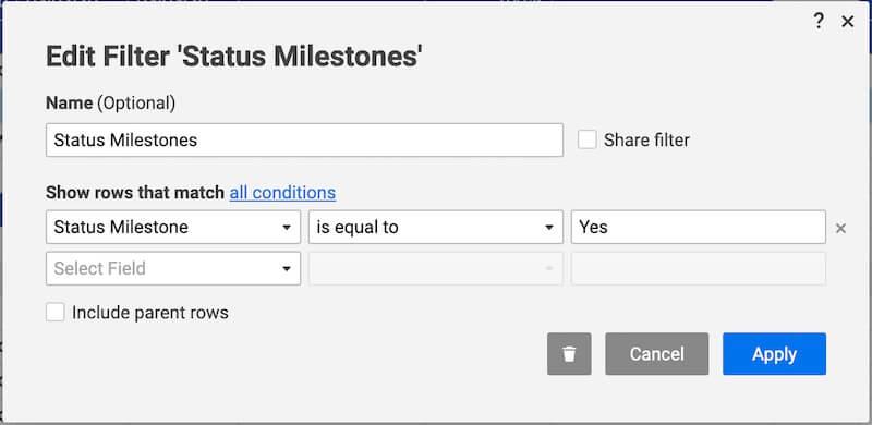 smartsheet filter milestones