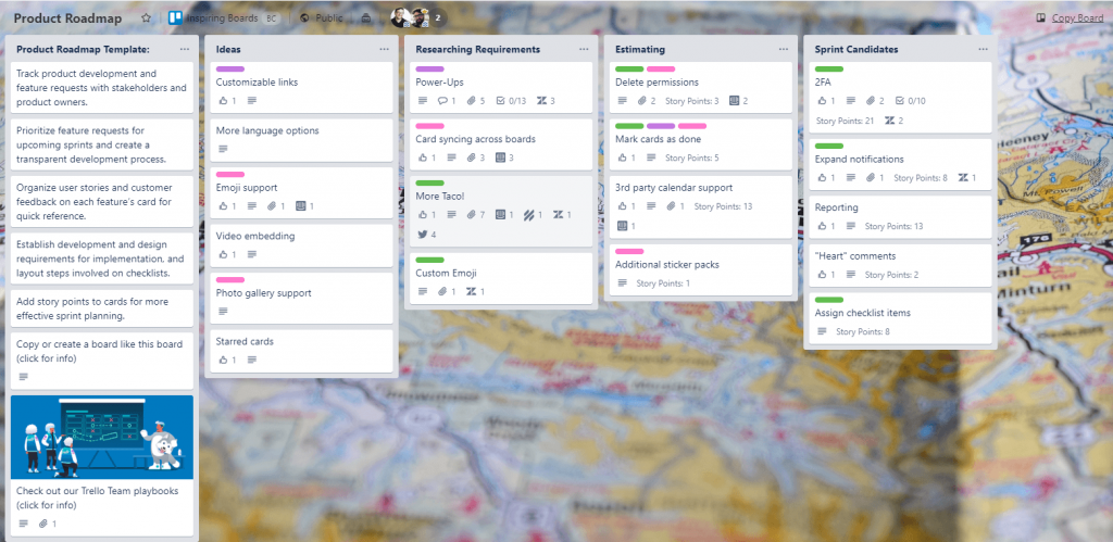Roadmap Template using Trello