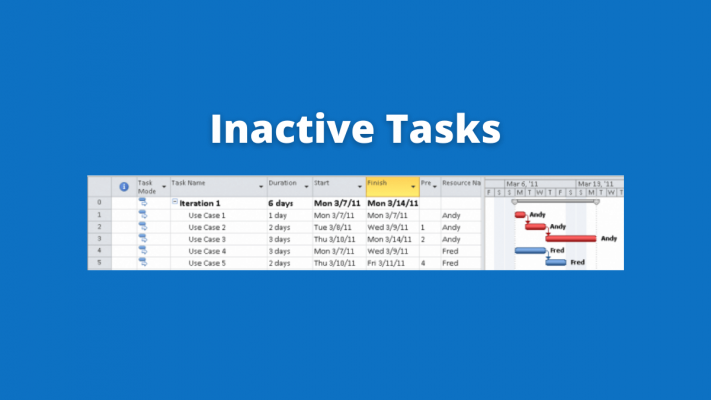 inactive tasks microsoft project