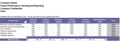 Project Performance Tracking and Reporting Template