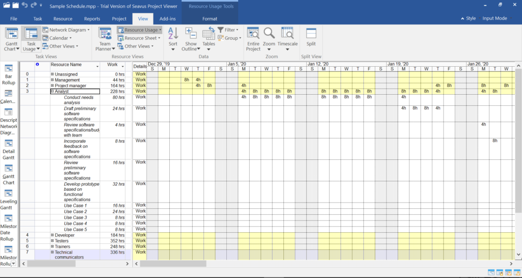 Microsoft Project Viewer - Resource View